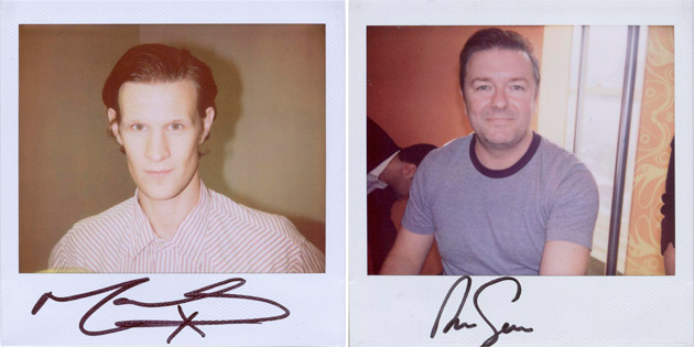 Matt Smith and Ricky Gervais - polaroids