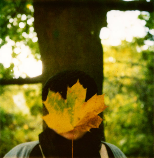me with a leaf - polaroid