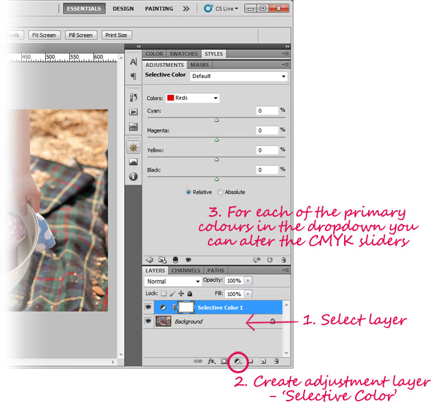 how to set 'selective color' adjustment layers