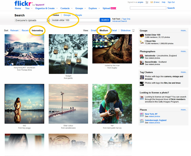 flickr search screen