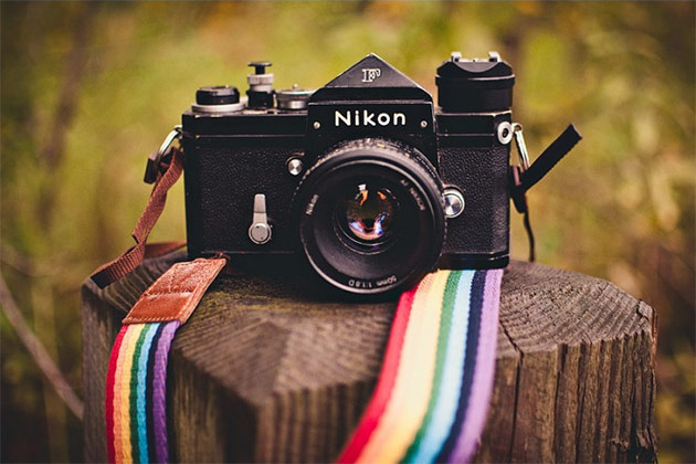 rainbow stripe camera strap