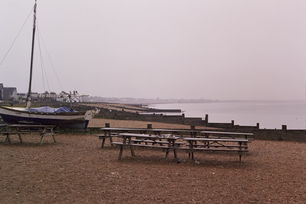 rainy beach, whistable - pentax k1000